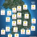 [내일 날씨] 대체로 맑음, 30도 무더위 계속...자외선 주의