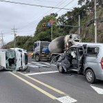 제주, 1톤 트럭-승합차 충돌...4명 부상